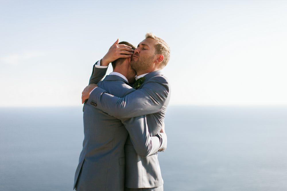 Emotional moment during Eon & Warrick's Gay destination wedding in Dubrovnik, Croatia