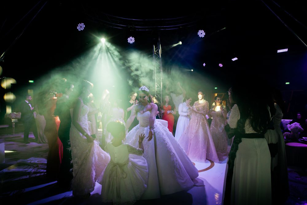 Dubai wedding party, Saudi bride dancing at her Dubai wedding captured by Dubai wedding videographer