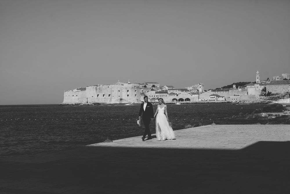 Wedding in Dubrovnik with the old town in background