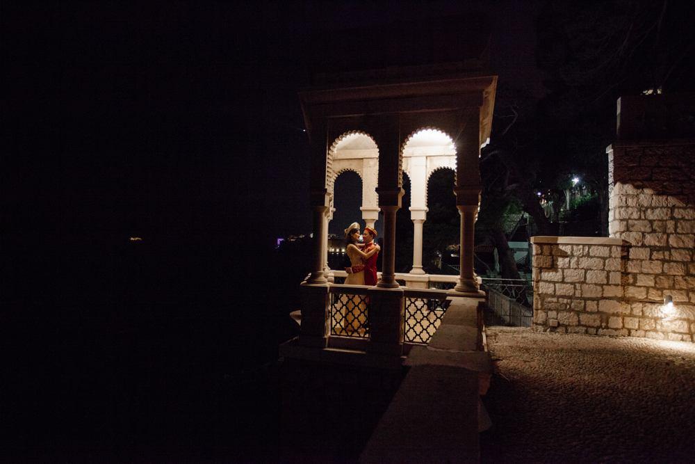 Becky and Vu in Dubrovnik gazebo at night
