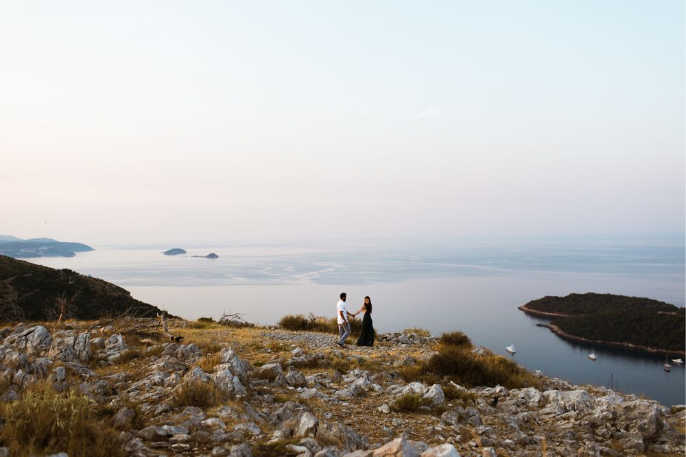 The newlywed couple on their after wedding photo session in Dubrovnik.