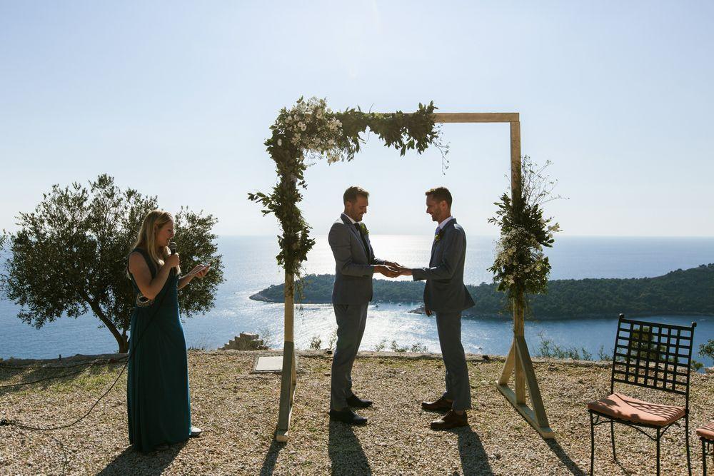 Gay destination wedding in Dubrovnik, Croatia Eon & Warrick's intimate wedding ceremony at Orsula