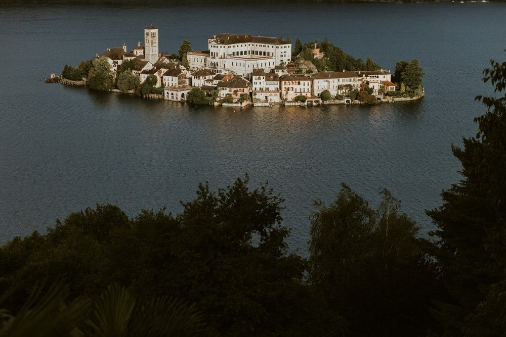The view of San Giulio Island at Lake Orta. Photo by DTstudio Italy wedding photographer © Lake Orta Wedding Photographer & Videographer