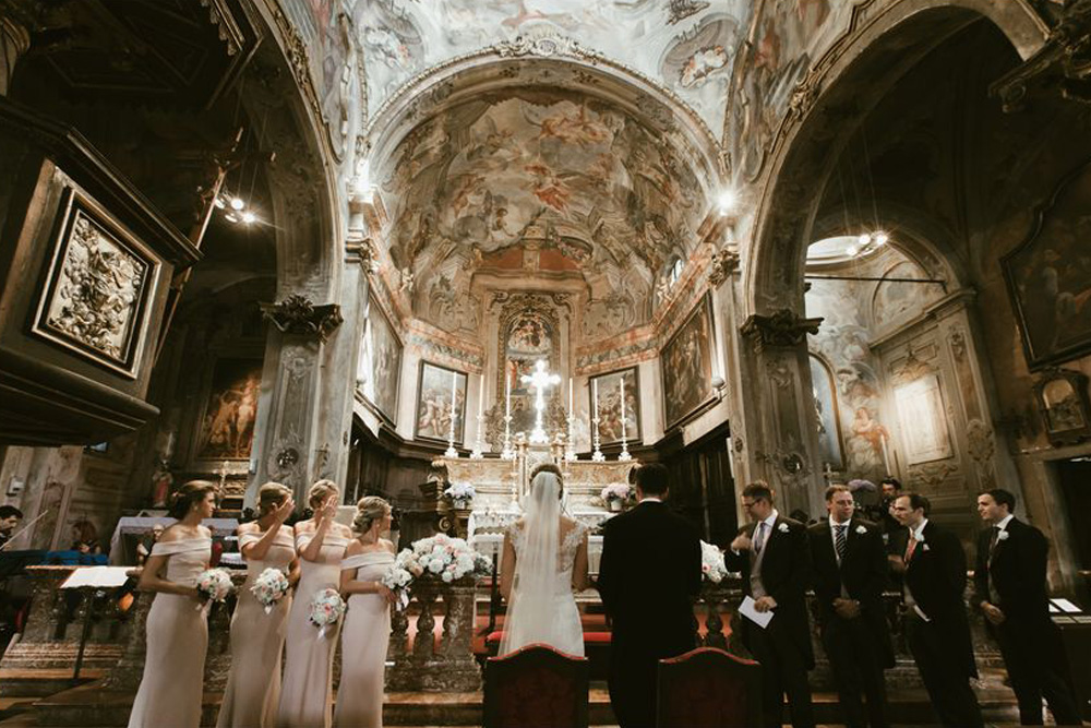 Bridal party in the stunning Church of Santa Maria Assunta at Lake Orta. Photo by DTstudio Italy wedding photographer © Lake Orta Wedding Photographer & Videographer