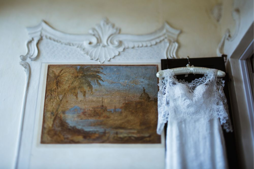 The wedding dress in a gorgeous Villa Gippini captured by © Lake Como videographer