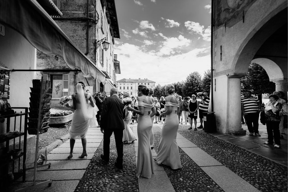 Bridal party going to the Church in Lake Orta, Italy. Photo by DTstudio, Lake Orta wedding photographer Destination wedding Italy  © Lake Orta Wedding Photographer & Videographer