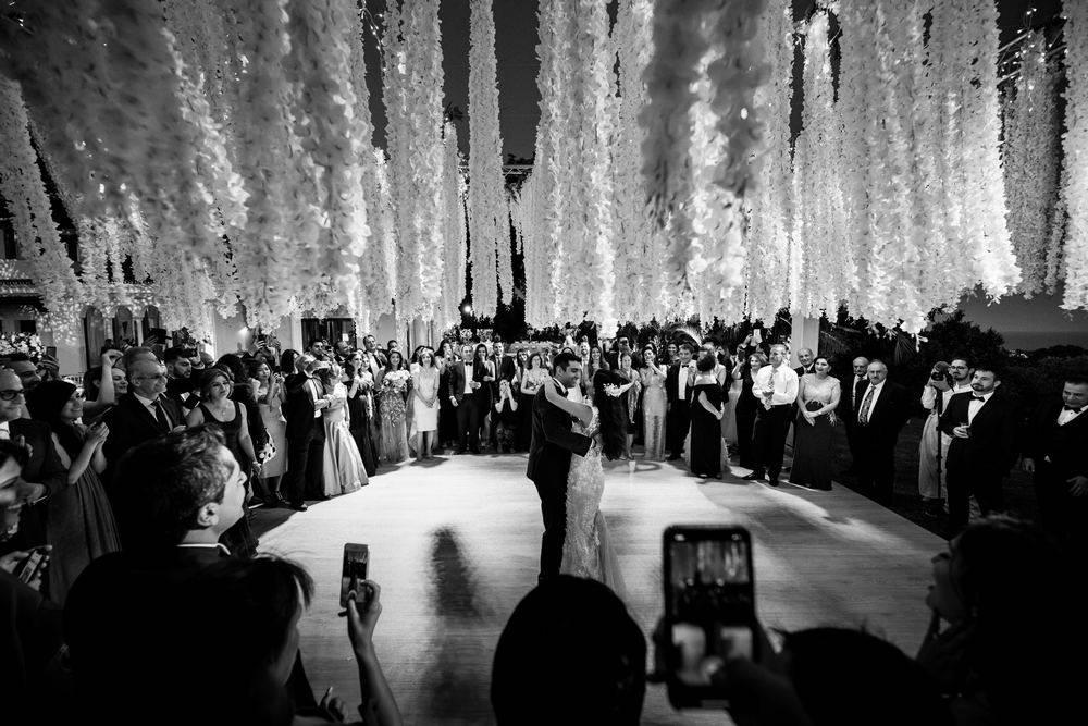 The wedding couple during their first dance at Malaga wedding venue Huerta del Conde. Malaga Wedding Videographer & Photographer