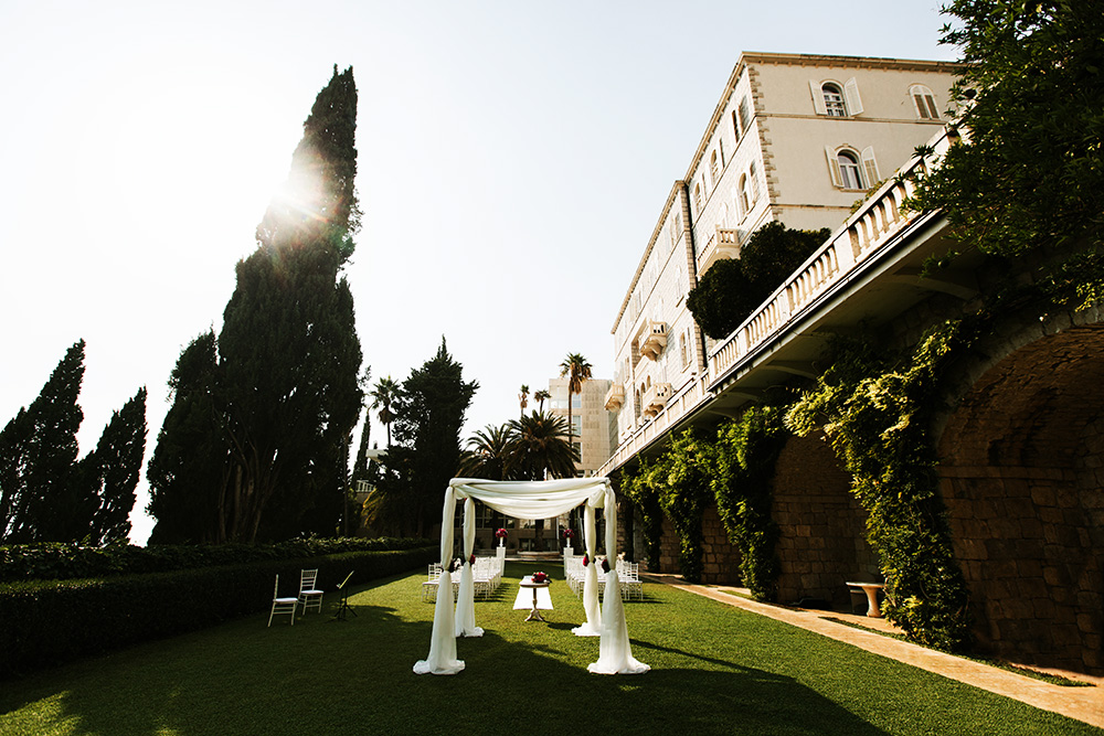Beautiful outdoor wedding setup in Dubrovnik