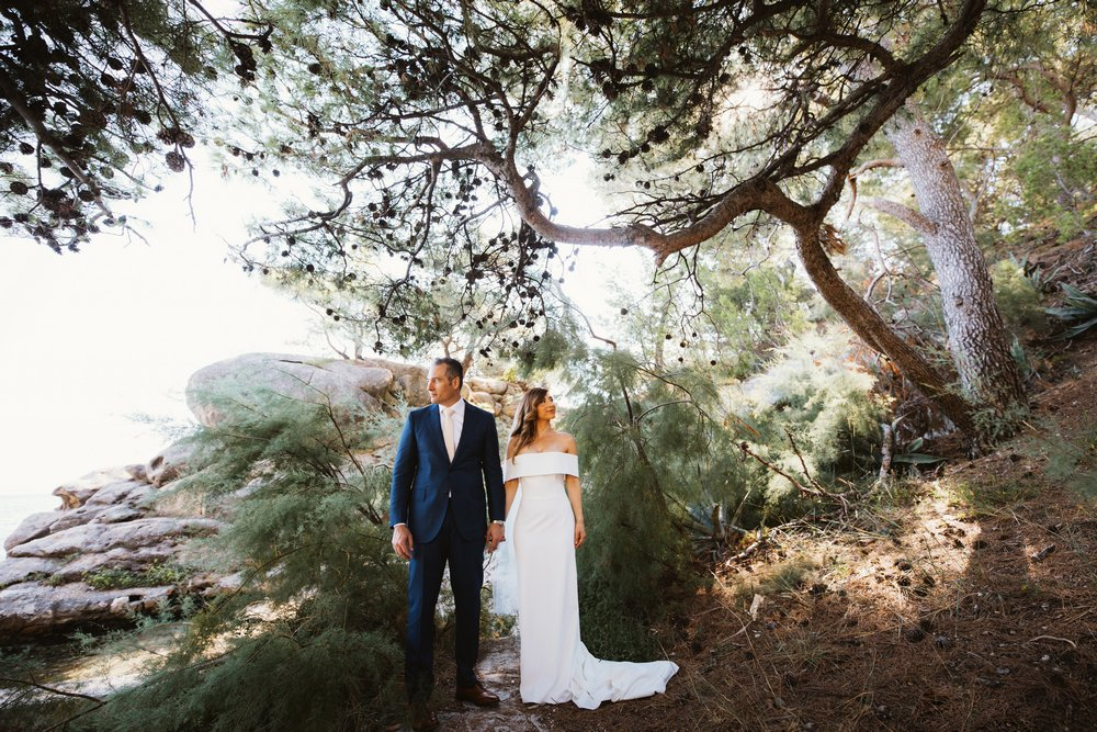 Wedding couple during a photoshoot after they got married in Villa Dalmacija