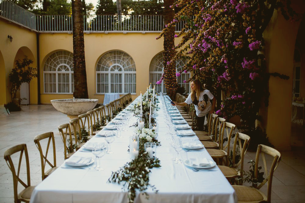 Wedding dinner table at outdoor wedding venue in Croatia - Villa Dalmacija Wedding