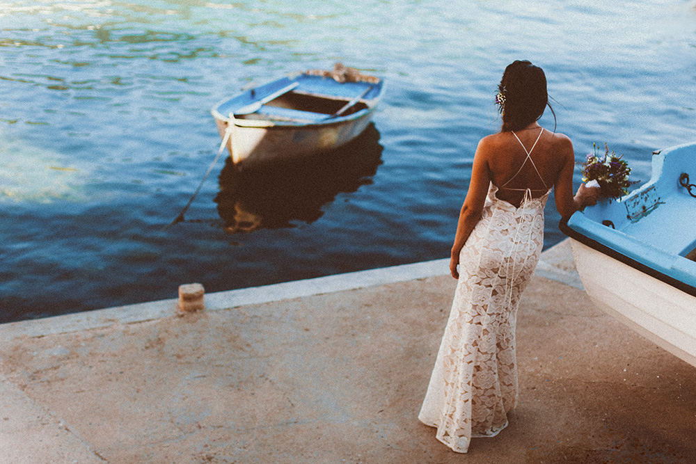 Brid waiting for the groom in the old harbour on the island of Vis